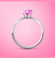 silver wedding ring on pink background vector image vector image
