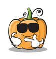 super cool pumpkin character cartoon style vector image vector image