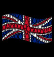 waving great britain flag pattern of fir-tree vector image