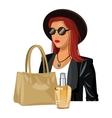 wo fashion clothes beige handbag and perfume vector image