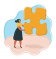 woman hold a puzzle vector image