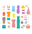 Women casual summer clothes and accessories flat vector image vector image