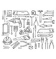 work tools sketch icons for house repair vector image