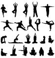 yoga and meditation silhouettes vector image vector image
