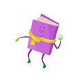 funny humanized purple book character playing vector image