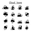 abstract cloud icon set vector image vector image
