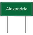 alexandria indiana road sign green illu vector image vector image