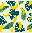banana with tropical lief background seamless vector image vector image