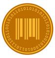 barcode digital coin vector image vector image