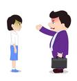 Businessman Cartoon boss man firing an employee vector image vector image