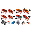 car tuning isometric icons set vector image vector image