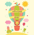 card with lion on air balloon and other animals vector image vector image