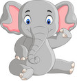 cartoon cute baelephant sitting vector image vector image