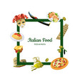 cartoon italian cuisine elements with place vector image vector image