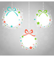 Christmas ball toys card with snowflakes vector image