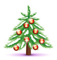 christmas tree with red balls vector image