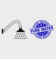 contour shower icon and distress pure water vector image vector image