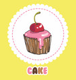 cupcake with glaze and cherry cake icon vector image vector image