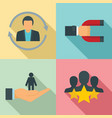 customer retention icon set flat style vector image