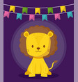 cute lion with garlands icon vector image vector image