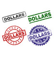 damaged textured dollars seal stamps vector image