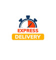 express delivery service logo fast time delivery vector image vector image