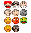 face emoticon set vector image vector image