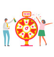 fortune wheel people celebrating victory vector image vector image
