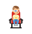 funny cute little boy in 3d glasses sitting on a vector image vector image
