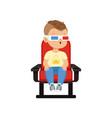 funny cute little boy in 3d glasses sitting
