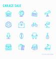 garage sale flea market thin line icons set vector image vector image