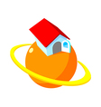 icon planet and house vector image vector image