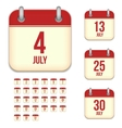 July calendar icons vector image vector image