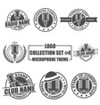 logo collection set with microphone theme vector image vector image