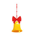 merry christmas bell with bow and leafs decorative vector image vector image