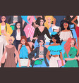mix race women crowd standing together girls in vector image