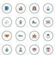 new icons colored line set with sleigh with gift vector image vector image