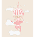 parachuting little girl with lollipop vector image vector image