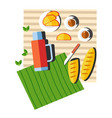 picnic food and drink on blanket summer outdoor vector image