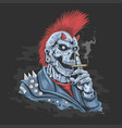 punk skull jacket rock vector image