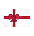 realistic gift card with red bow and ribbon vector image vector image