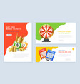 realistic lottery banners set vector image