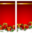 Red christmas banners with gift boxes vector image