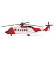 red white helicopter vector image vector image