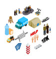 refugees icons set isometric 3d style vector image