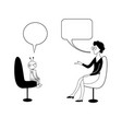 robot and woman are talking black outline vector image vector image
