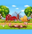 rural happy farm animals vector image
