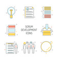 scrum development icons set - agile methodology to vector image vector image