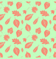 seamless decorative template texture with leaves vector image vector image