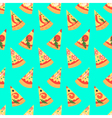 Seamless pattern with pizza margherita slices vector image
